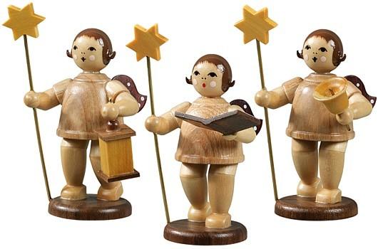 Engelgruppe 3-teilig mit Stern und Lampe, Buch und Glocke / natur