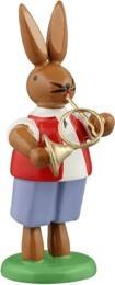 Hasenmusikant mit Waldhorn