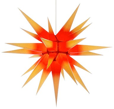 Herrnhuter Adventsstern I7, gelb mit rotem Kern - 70 cm