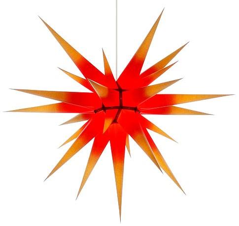 Original Herrnhuter Adventsstern I8, gelb mit rotem Kern - 80cm