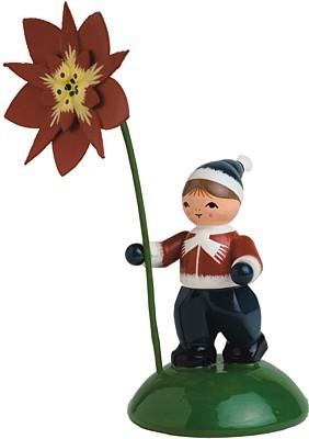 Blumenkind Junge mit Weihnachtstern