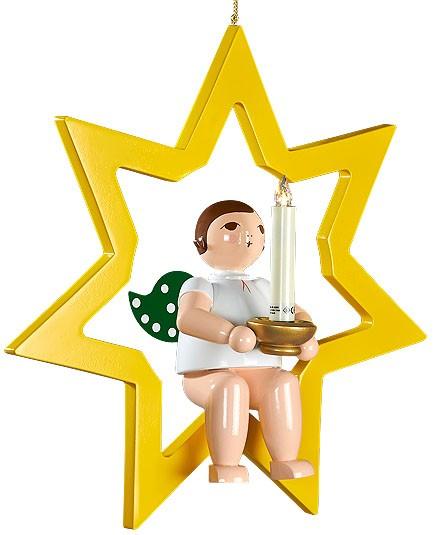 großer Engel im Stern mit Tülle für Kerze oder Lumix-LED - hängend, ohne Krone