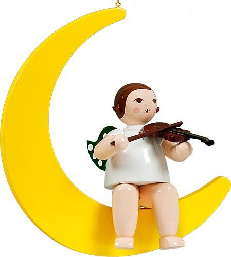 großer Engel auf Mond mit Geige - hängend, ohne Krone