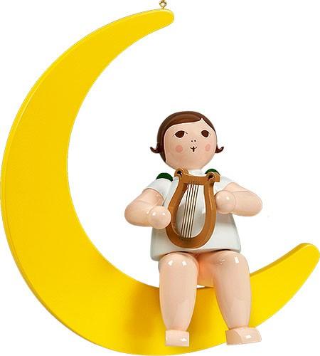 großer Engel auf Mond mit Harfe - hängend, ohne Krone