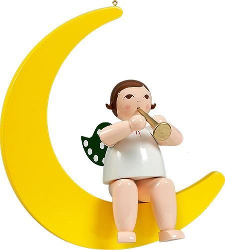 großer Engel auf Mond mit Trompete - hängend, ohne Krone