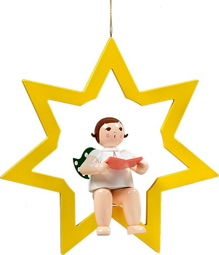großer Engel im Stern mit Buch - hängend, ohne Krone
