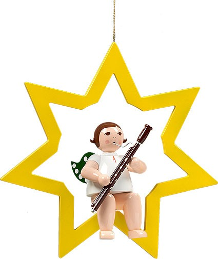großer Engel im Stern mit Fagott - hängend, ohne Krone