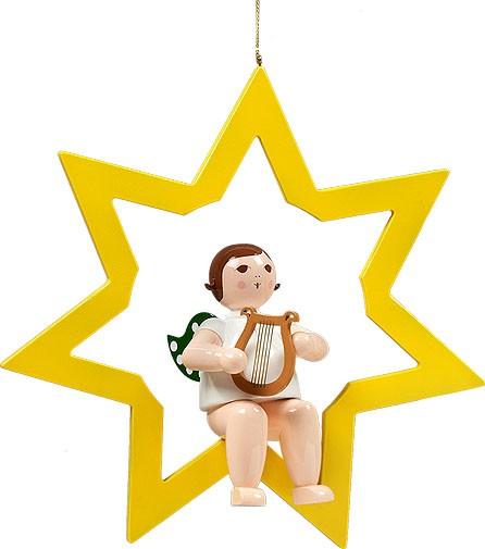 großer Engel im Stern mit Harfe - hängend, ohne Krone