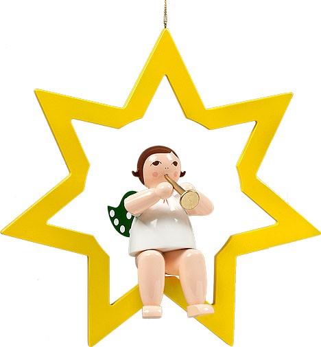 großer Engel im Stern mit Trompete - hängend, ohne Krone