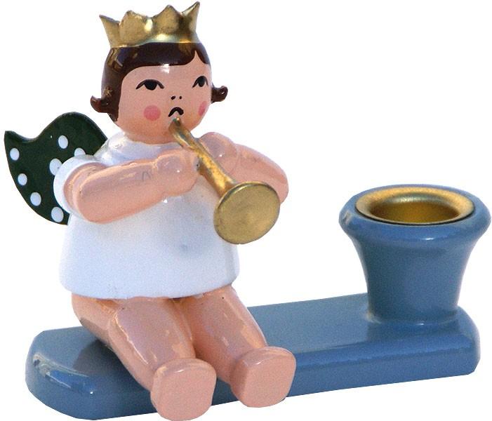 Kerzenhalter Engel mit Trompete, sitzend
