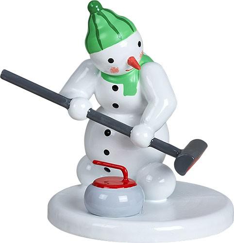 Curlingspieler mit Besen