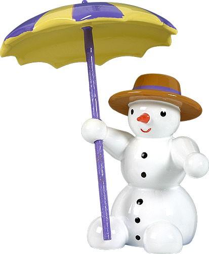 Schneemann, sitzend - mit Schirm