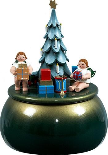 Spieldose - Engel am Weihnachtsbaum / grün-gold