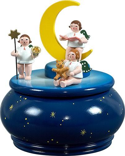 Spieldose - Engeltrio mit Mond / blau mit Sternen