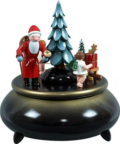 Spieldose - Weihnachtsmann, 2 Engel mit Schlitten blau-gold