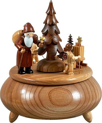 Spieldose - Weihnachtsmann, 2 Engel mit Schlitten natur