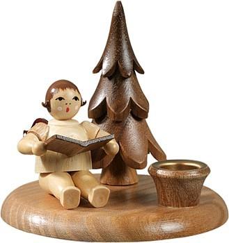 Kerzenhalter mit Bäumchen - Engelmusikant sitzend / natur