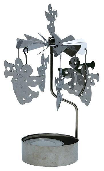 Lichtspiel Silber mit Teelicht - Engel
