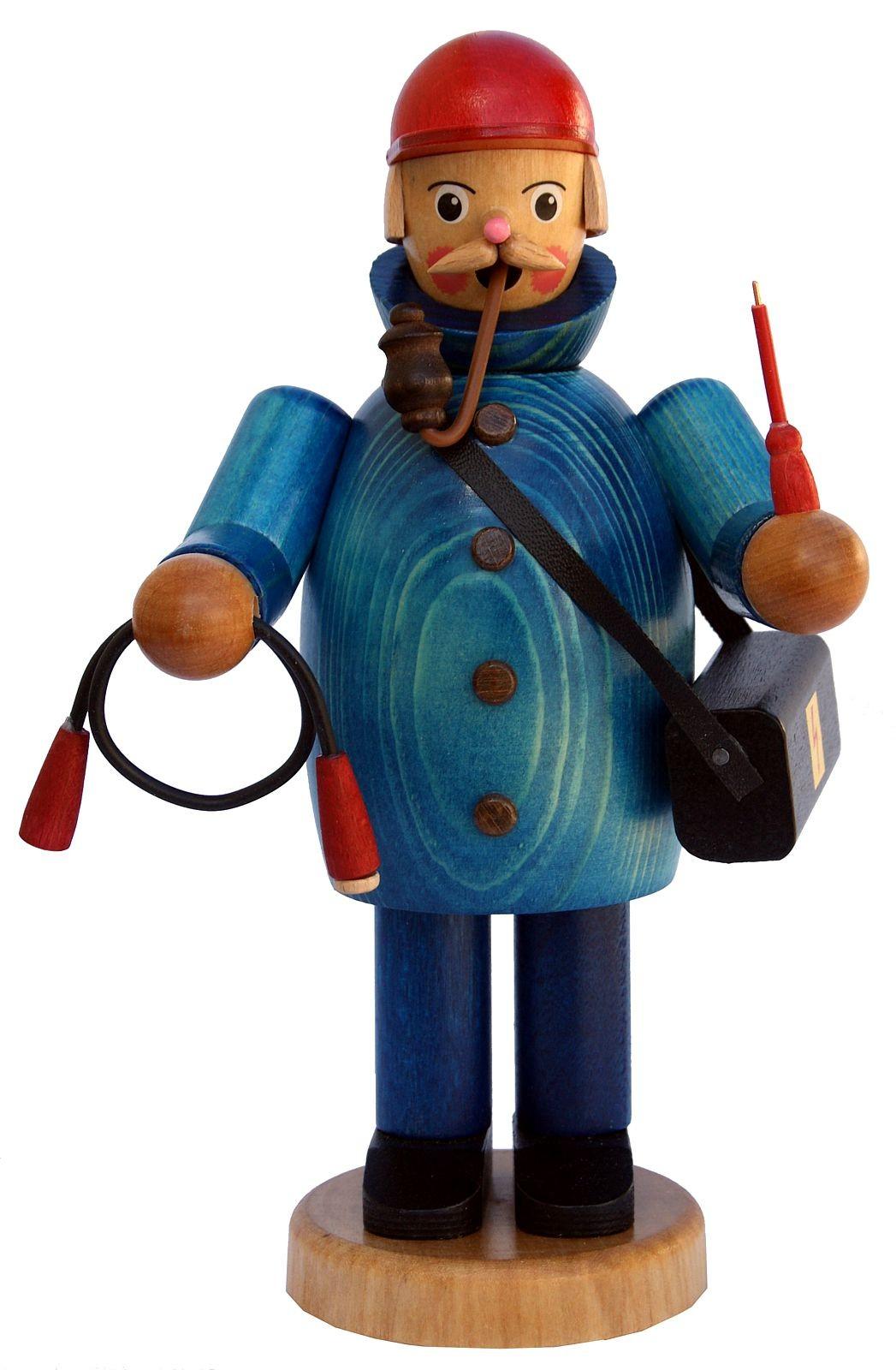 Räuchermännchen Elektriker mit blauer Jacke