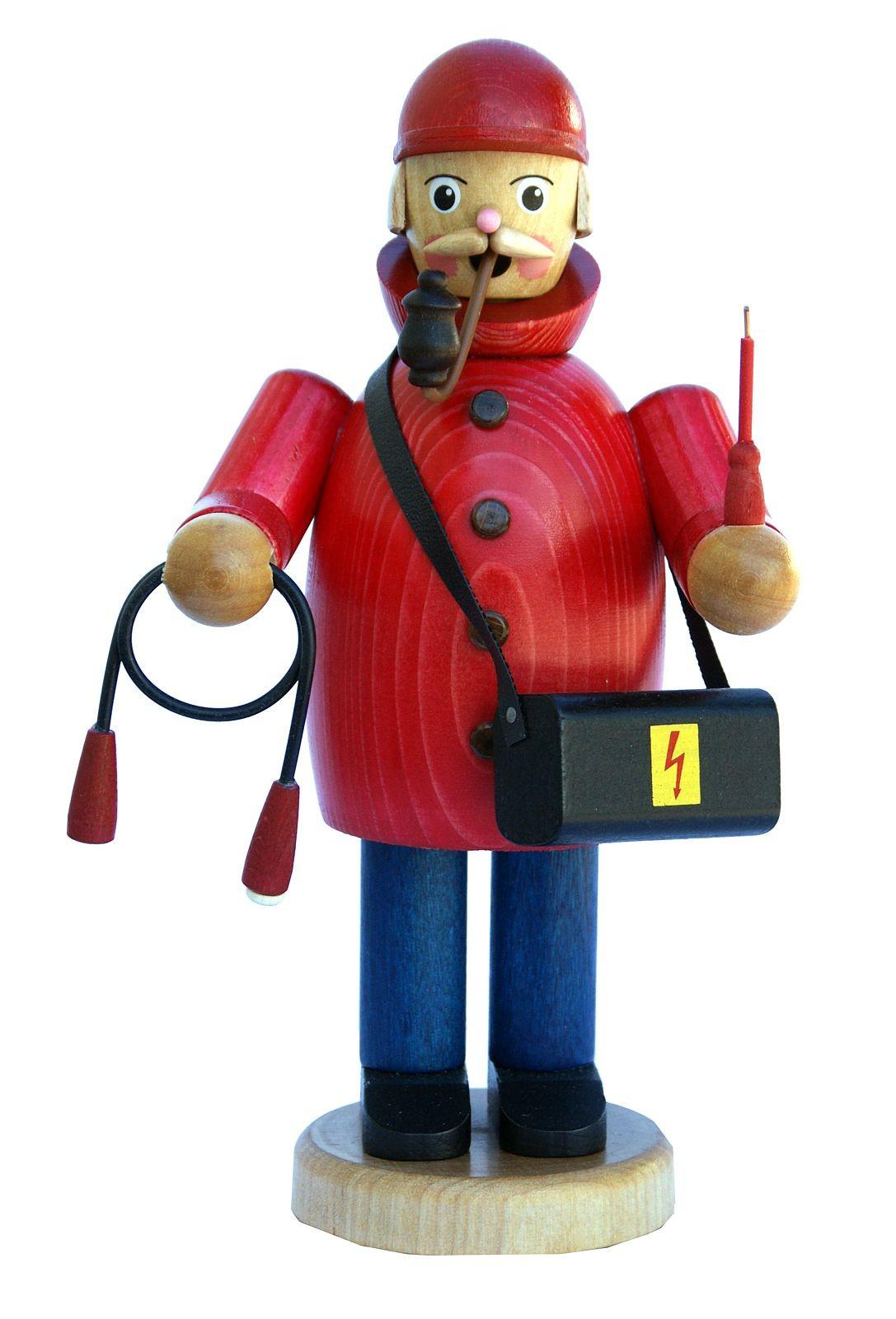 Räuchermännchen Elektriker mit roter Jacke