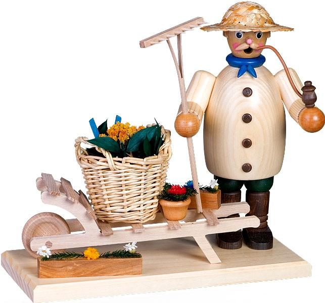 Räuchermann Gartenfreund mit Karre