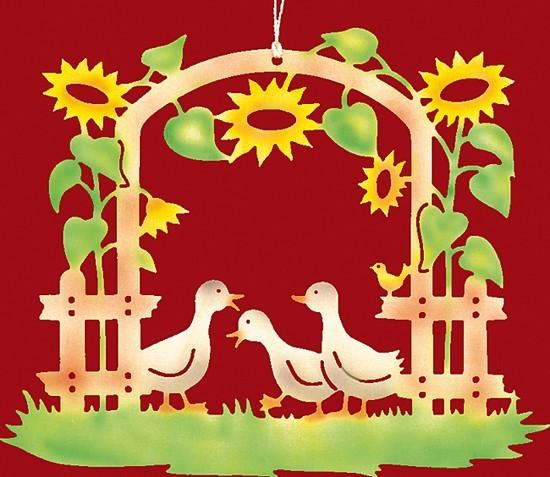 Fensterbild farbig Entenfamilie