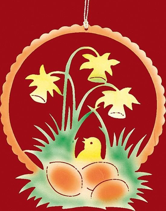 Fensterbild Farbig Ostern Kücken im Osterglockennest