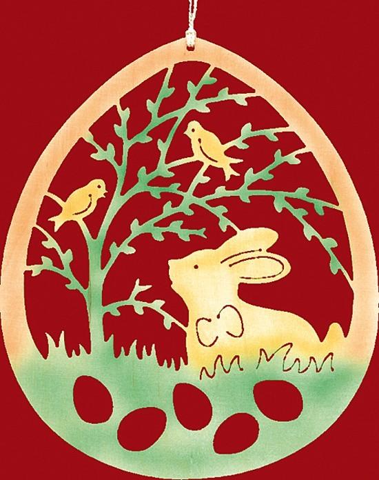 Fensterbild Ostern Hase unter Weidenzweig - farbig
