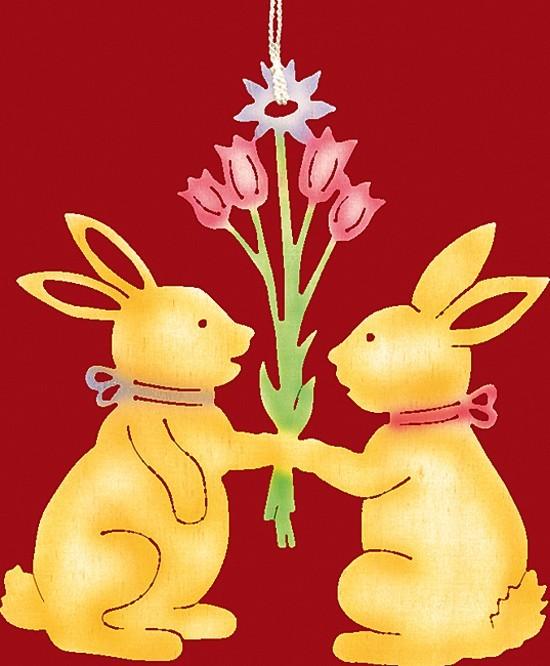 Fensterbild Farbig Ostern 2 Häschen mit Blumenstrauß