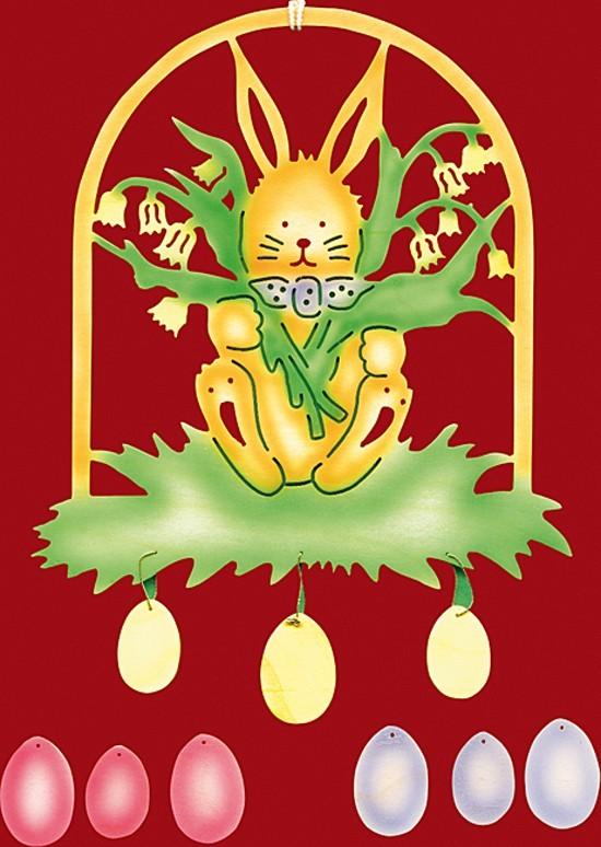 Fensterbild Ostern Osterhase mit Maiglöckchen - farbig