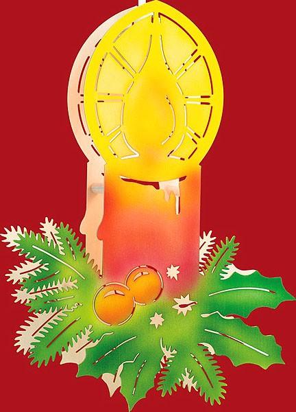 Farbiges Beleuchtetes Fensterbild Kerze mit Zweigen - klein
