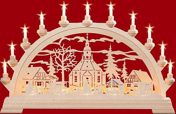 elektr. Schwibbogen, doppelt Seiffener Kirche + Zaun Weihnachtsmarkt