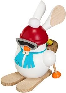 Kugelräucherfigur Ski-Hase