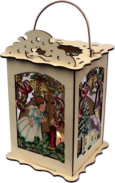 Weihnachtslaterne für Teelicht - Kirche und Engel