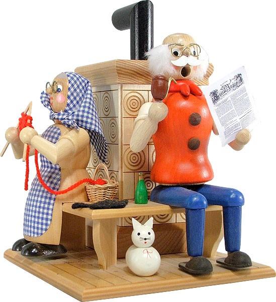 Räuchermann Oma und Opa am Ofen/N
