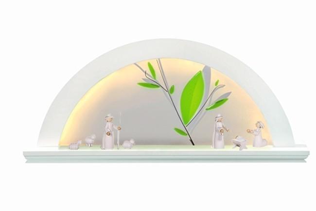 Lichterbogen, Erle weiß, mit Glashintergrund