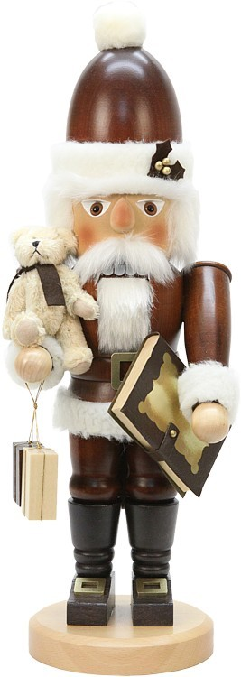 Nußknacker Weihnachtsmann mit Teddy Natur