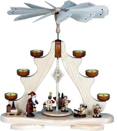 Teelichtpyramide - Weihnachtsmann mit Engel, naturfarben