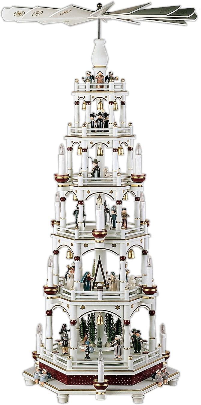 fünfstöckige Weihnachtspyramide in weiß-bordeaux