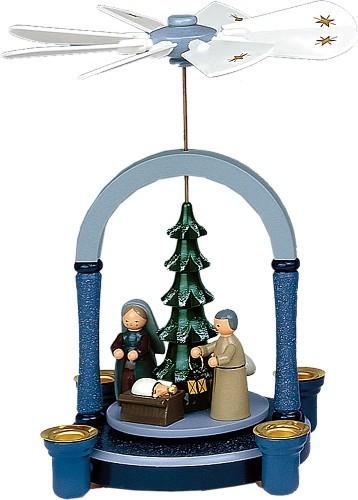 Weihnachtspyramide Christi Geburt in blau/weiß