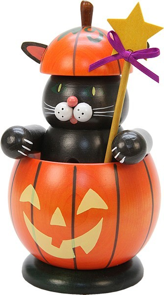 Räucherfigur Katze im Kürbis