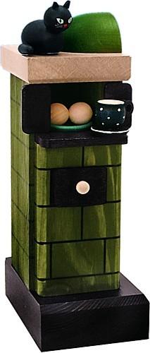Räucherfigur Kachelofen grün