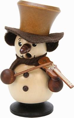 Räuchermännchen Schneebub mit Geige, Natur