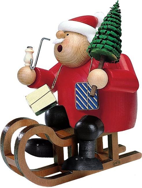 Räuchermann Weihnachtsmann mit Schlitten
