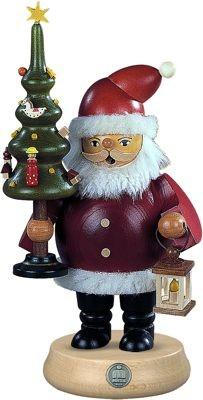 Räuchermann Weihnachtsmann mit Baum, mittelgroß