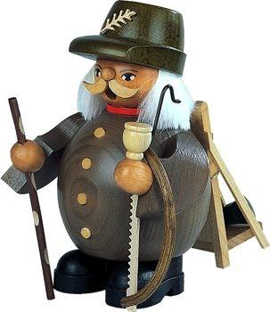Räuchermann Waldarbeiter, grau, klein