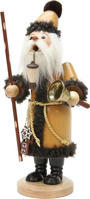 Räuchermann Weihnachtsmann mit Glocke Natur