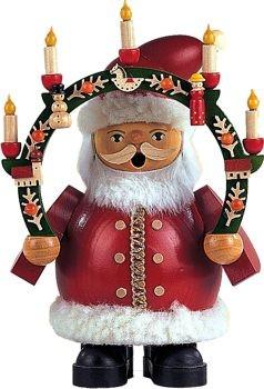 Räuchermann Weihnachtsmann mit Kerzenbogen, klein