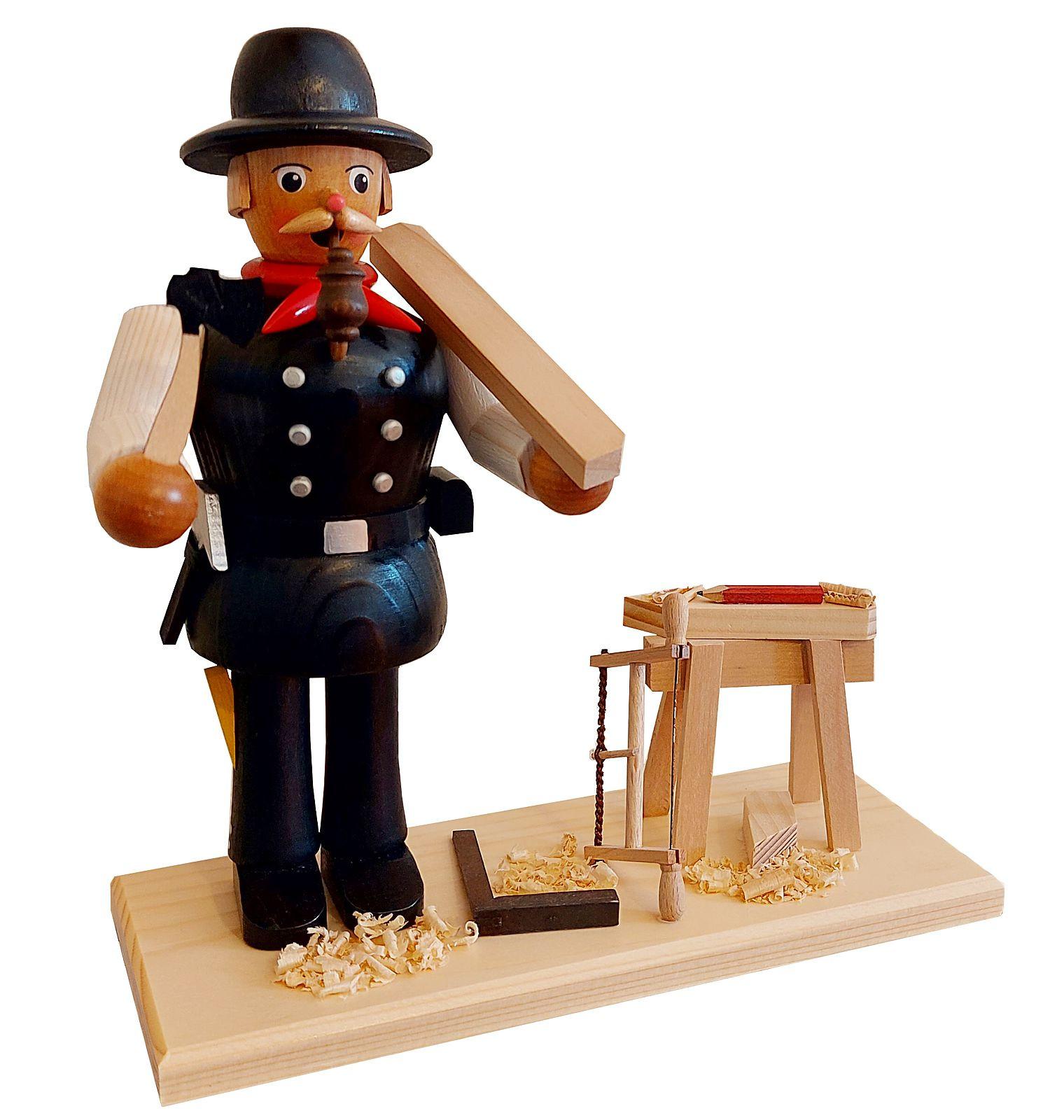 Räuchermann Zimmermann mit Hobelbock