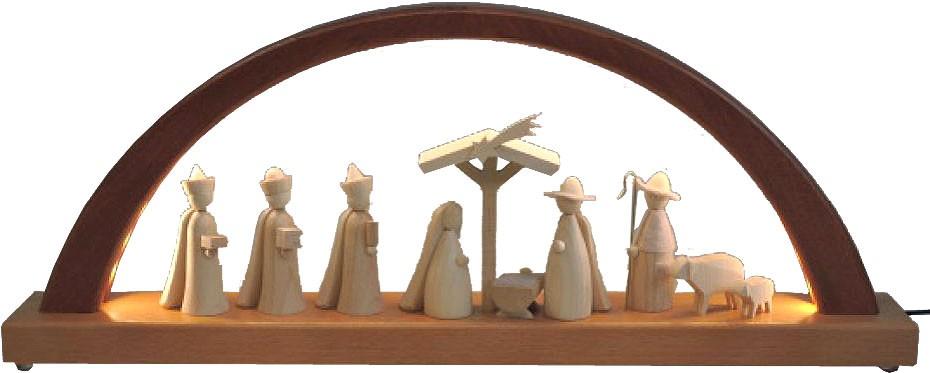 Schwibbogen Christi Geburt - neues Design, natur